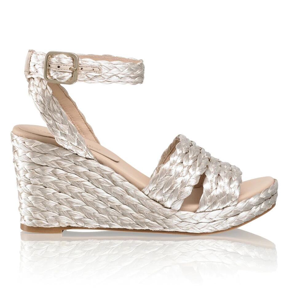 Russell and Bromley PROSECCO Raffia Ankle Wrap Wedge