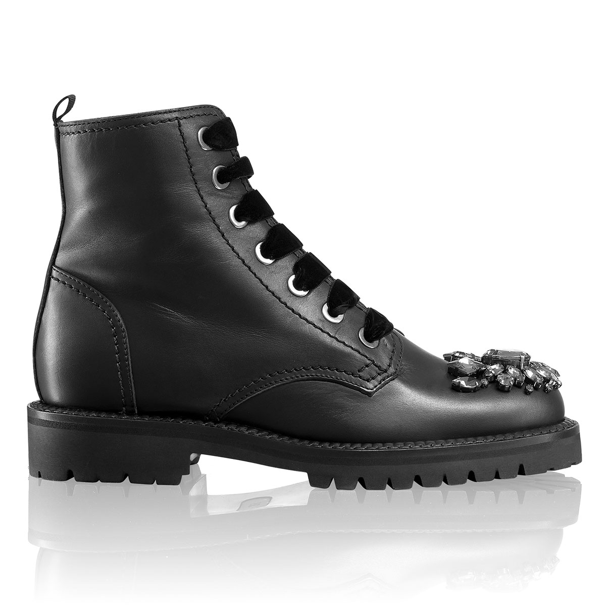 Russell and Bromley RISE+SHINE Jewel Toe Military Boot